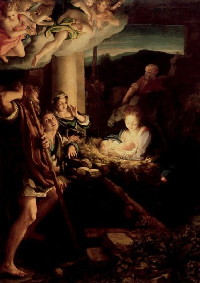 Correggio, Antonio Allegri da: The Holy Night/Nativity Scene. Fine Art Print/Poster. Sizes: A4/A3/A2/A1 (001971)
